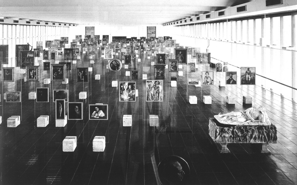 Masp's pinacotheca. Museum of Art of São Paulo, Brazil, by Lina Bo Bardi. Photo: Paolo Gasparini. Attribution: © Instituto Lina Bo e P.M. Bardi (Archive).