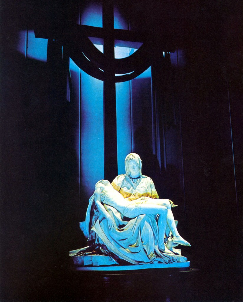 Michelangelo's Pieta as exhibited in the Vatican Pavilion at 1964/1965 New York World's Fair. © 1966 by Vatican Pavilion (New York World's Fair) Inc.